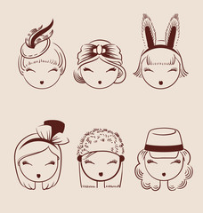 fashion girls in head accessories icon set hand drawn