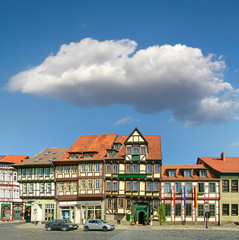 Street with half-timbered houses in the town of Quedlinburg