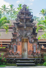 Balinese style entry gate at Tirta Empul temple in Bali