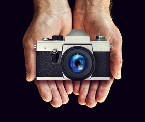 film camera in hands