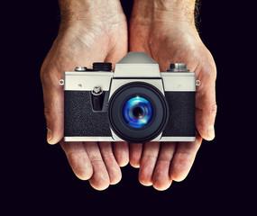 film camera in hands