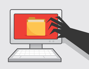 Clawed hand reaching for computer with folder icon