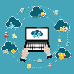 Cloud computing illustration with working laptop