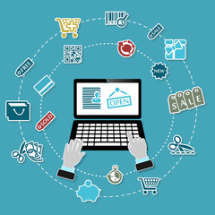 Shopping illustration with working laptop