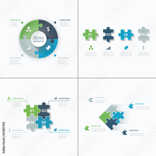 Fototapeta Set of puzzle pieces jigsaw business infographics concept vector