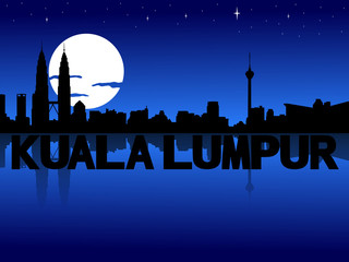 Kuala Lumpur skyline reflected with text and moon illustration