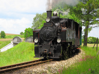 Steam engine train on narrow gauge railway.