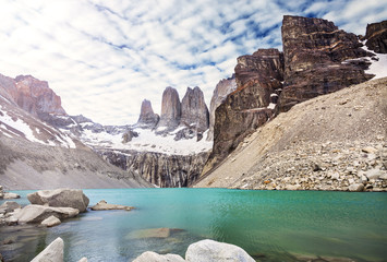 Mountains and lake in Torres del Paine National Park, Patagonia,