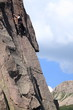 trentino dolomiti alpinista inmpegnato in arrampicata