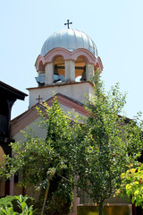 Orthodox church painted in pink near Sofia, Bulgaria