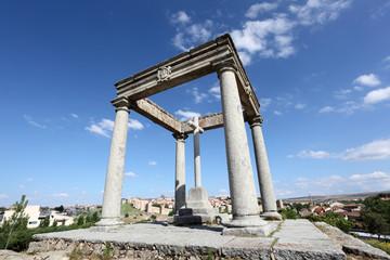 Los cuatro postes (four poles) monument in Avila, Spain