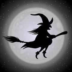 Fliegende Hexe auf einem Besen vor großem Mond