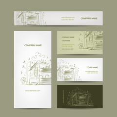 Set of business cards design with country house