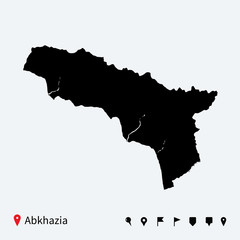High detailed vector map of Abkhazia with navigation pins.