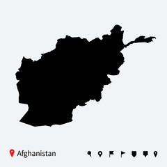 High detailed vector map of Afghanistan with navigation pins.