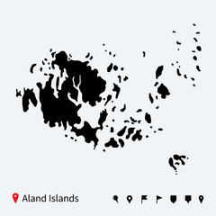 High detailed vector map of Aland Islands with navigation pins.