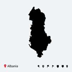 High detailed vector map of Albania with navigation pins.