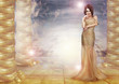 Fantasy. Enticing Lady in Stylish Dress over Abstract Background