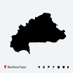 High detailed vector map of Burkina Faso with navigation pins.