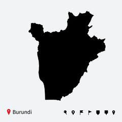 High detailed vector map of Burundi with navigation pins.