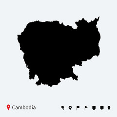 High detailed vector map of Cambodia with navigation pins.