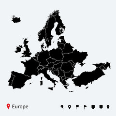 High detailed Europe Political map with navigation pins.