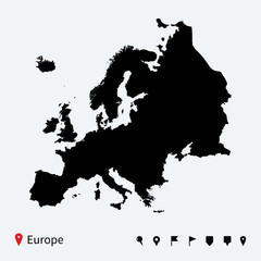 High detailed vector map of Europe with navigation pins.