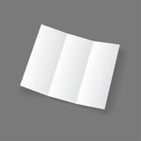 White open lying blank trifold paper brochure poster