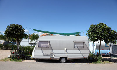 Caravan on a camping site in southern Spain