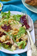 salad with chicken, chickpea  and couscous