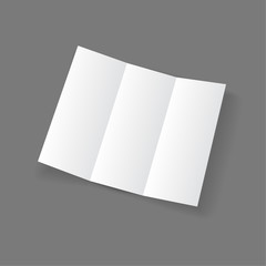 White open lying blank trifold paper brochure