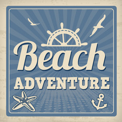 Beach adventure retro poster