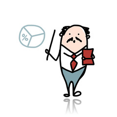 Businessman with pointer and chart, sketch for your design