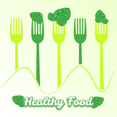 vector concept vegetarian illustration with forks