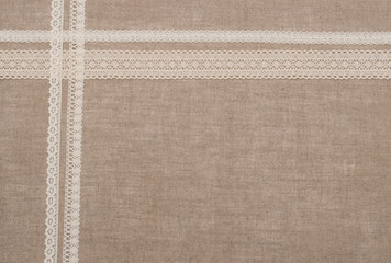 Natural Linen Textile With Lace Ribbon