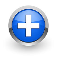 plus blue glossy web icon