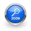 zoom blue glossy web icon