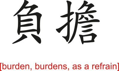 Chinese Sign for burden, burdens, as a refrain