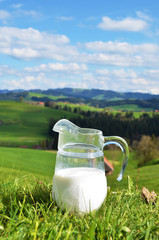 Jug of milk. Emmental region, Switzerland