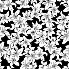 vector floral seamless pattern vintage background  white lily