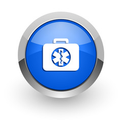 rescue kit blue glossy web icon