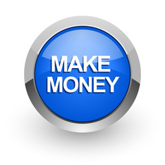 make money blue glossy web icon