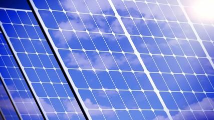 Solar panels, solar energy farm.  3d animation