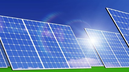 Solar panels, solar energy farm.  3d animation
