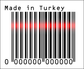 Bar Code icon over Made in Turkey