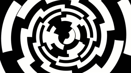 Black and white arcs form a spinning tunnel