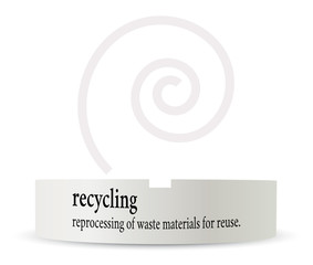 dictionary word of recycling on ashtray
