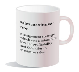 dictionary word of sales maximization on white mug