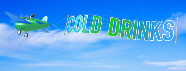 Cartoon Airplanes with Cold Drink Banner