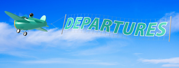 Cartoon Airplanes with Departures Banner